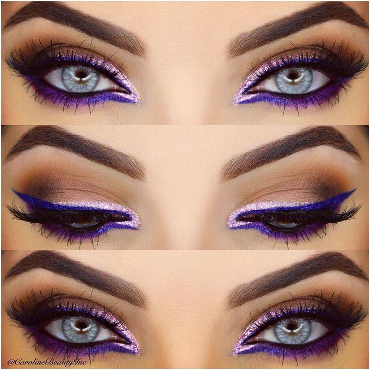 @Carolinebeautyinc does an amazing electric purple liner look! #Makeup #Mua #Motd