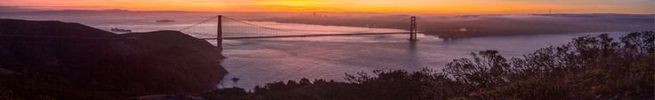 View of the Golden Gate Bridge, taken from the Marin Headlands, looking towards San Francisco at sunrise, California