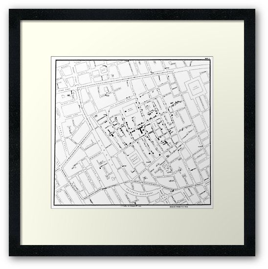 Original map by father of epidemiology John Snow showing the clusters of cholera cases in the London epidemic of 1854, drawn and lithographed by Charles Cheffins. / It is in the public domain. • Also buy this artwork on wall prints, apparel, phone cases, and more.