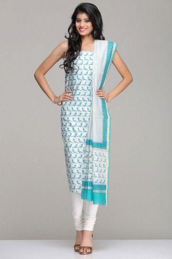 Ivory Unstitched Chanderi Kurta & Dupatta Set With A Blue Bird Theme Hand Block Print