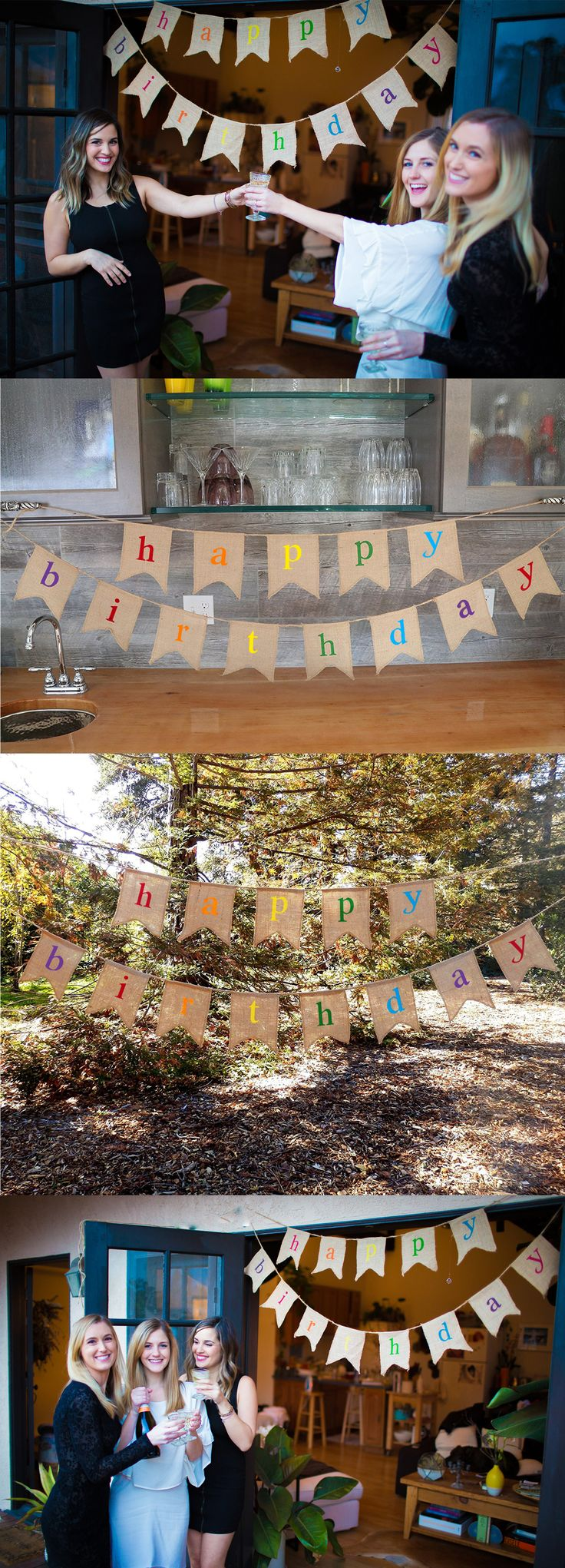 Rustic Burlap Birthday Banner.  Perfect for an outdoor summer birthday!