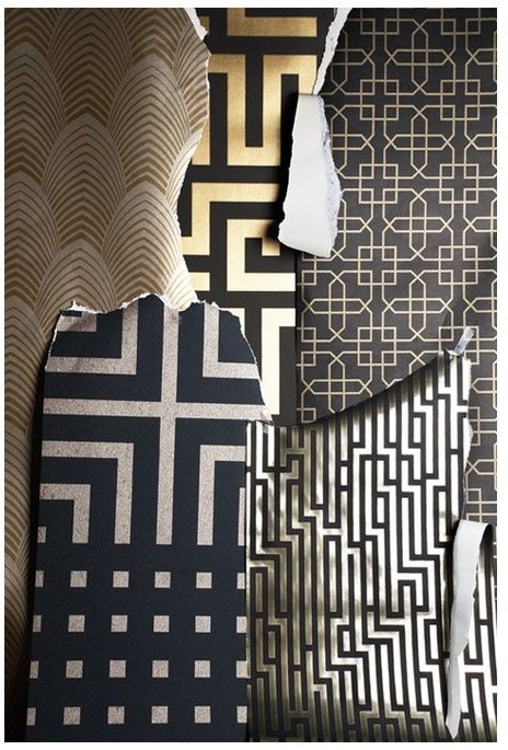 Art Deco Patterns using foil. really love the use of all the patterns, not to fond of the black and gold colour schemes