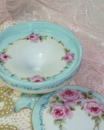 Shabby Romantic Vintage Cottage Chic perfume box and frame with pink roses hand painted porcelain