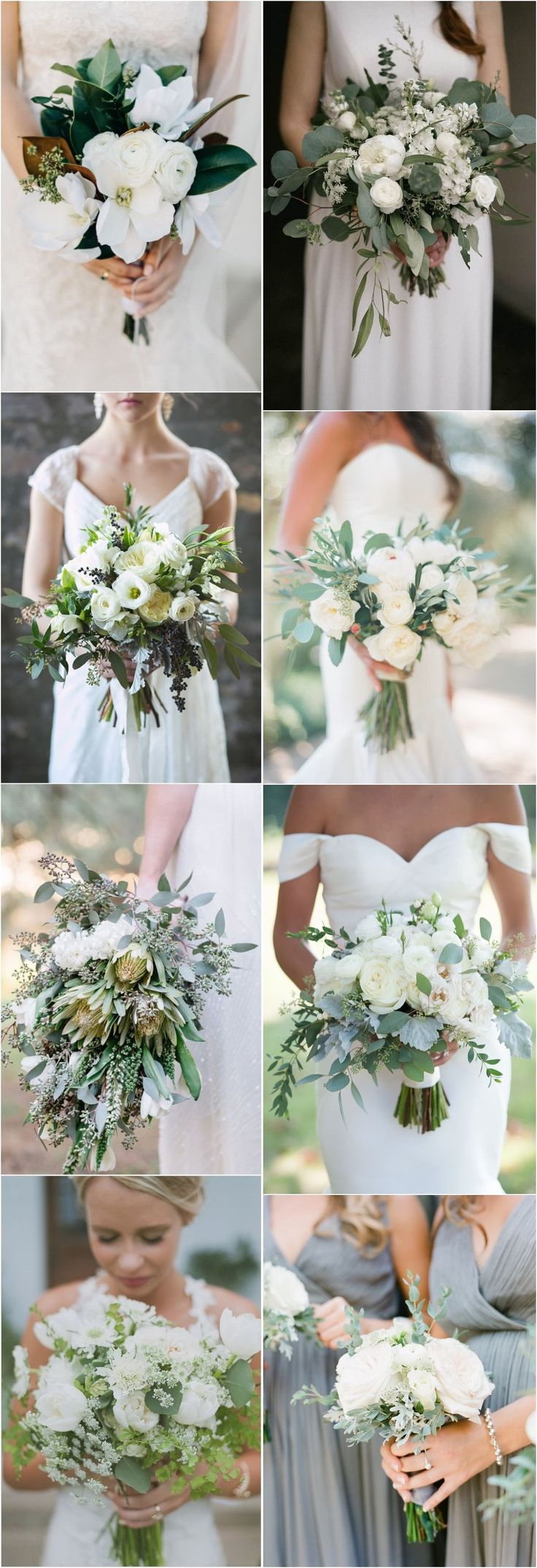 18 White and Green Bouquet for Modern Spring Weddings