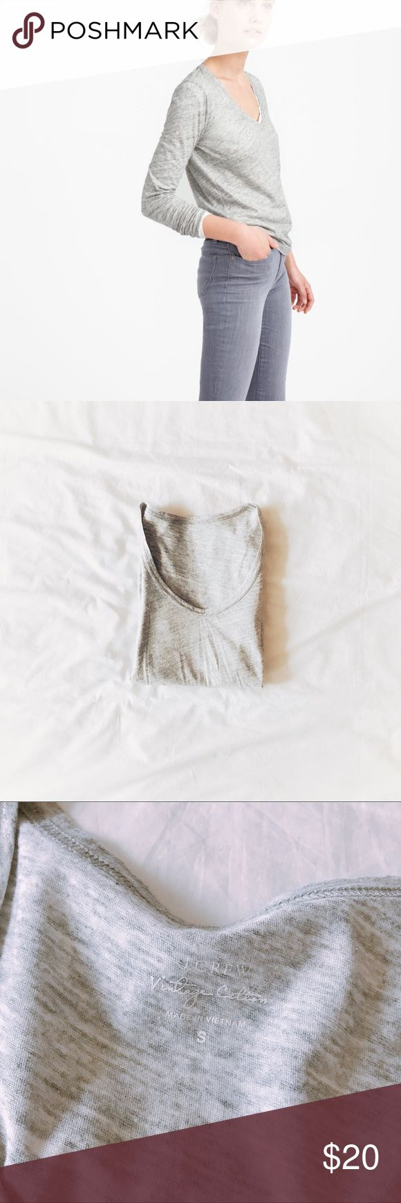 """Metallic Tee +measurements 24"""" length, 15"""" chest (armpit to armpit)  +product info J Crew vintage cotton scoop neck tee in heather grey metallic. Long sleeves.   +composition 100% cotton   +condition Worn once, freshly cleaned. No stains or holes. J. Crew Tops Tees - Long Sleeve"""