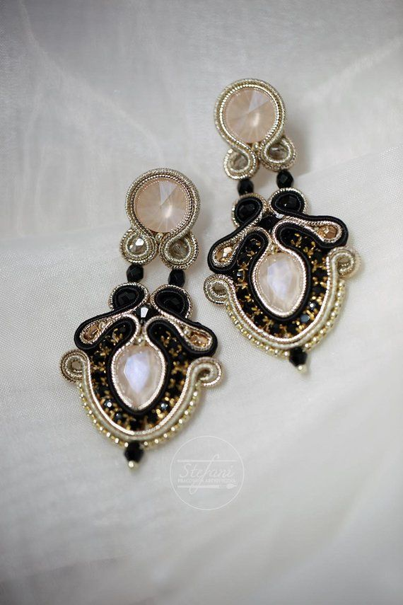 4890f8cb0 evening ivory soutache earrings modern wedding jewelry with | Etsy