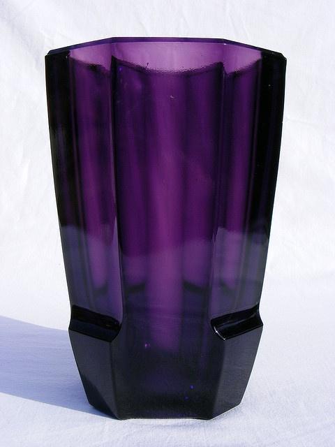 Rudolf Schrotter amethyst glass vase.
