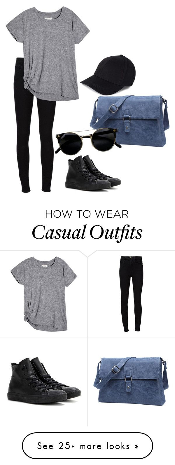 """Casual"" by katmarlo on Polyvore featuring Frame Denim and Converse"