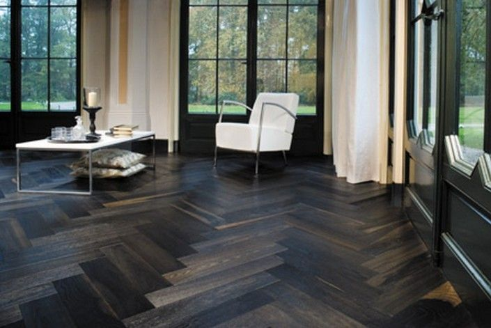 The Jazz of the Solid Wood Flooring Industry Parquet Wood Flooring-Herringbone floor dark wood