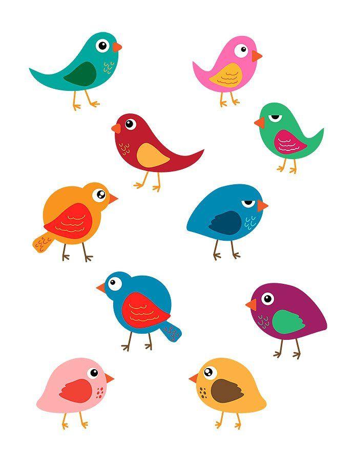 10 Colorful Birds Vector Clip Art Bird Clipart Cute Birds Clip Art