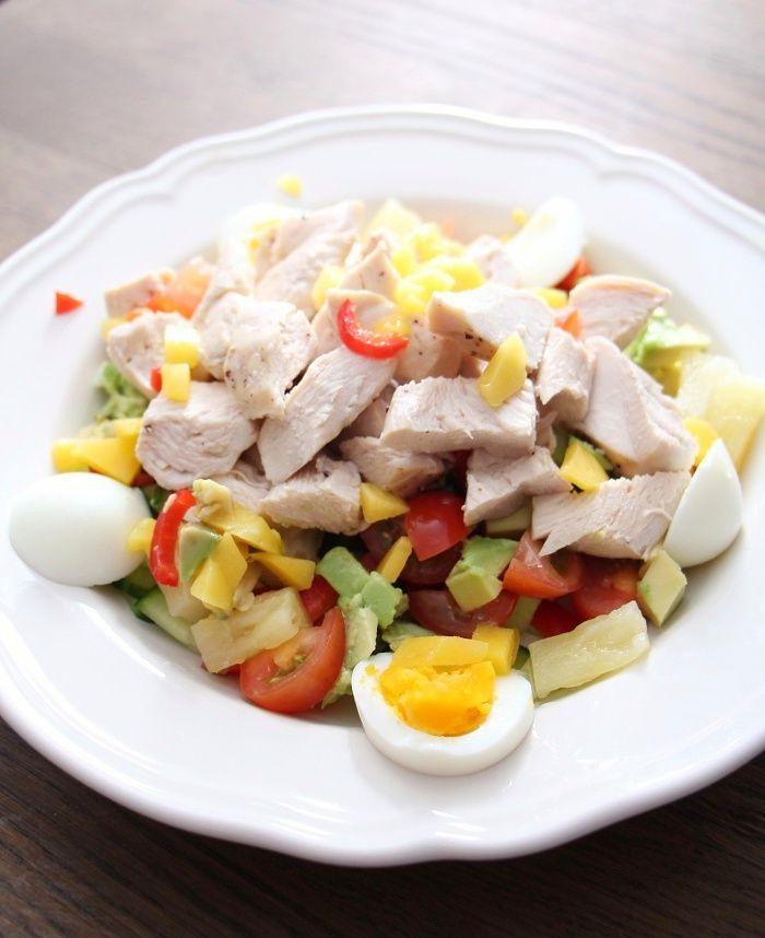 Kyllingsalat med mango og ananas 2 kyllingfileter 2 egg 1 avokado 1 boks ananas 2 skiver mango salt og pepper Salat av agurk, paprika og tomater