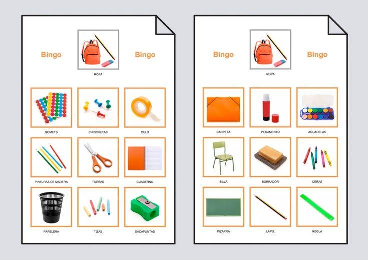 Bingo con vocabulario del material escolar compuesto por cuatro cartones y nueve objetos en cada uno de ellos.