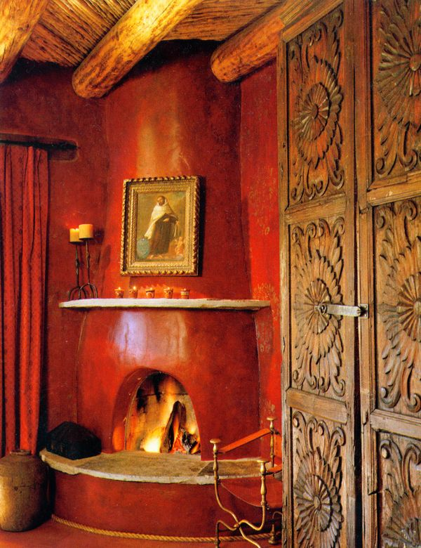 Adobe fireplace and walls