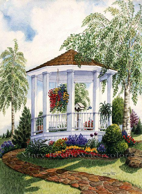 Garden Gazebo by Mary Irwin Watercolors, via Flickr