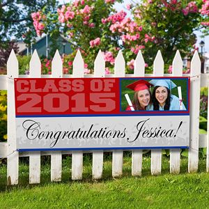 Personalized Graduation Photo Banners - perfect graduation party accessory for the class of 2015! This banner would make a great graduation guest book! All of their friends can sign it like a yearbook!