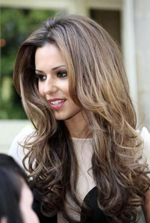 Long layered cut ombré thick hair face framing