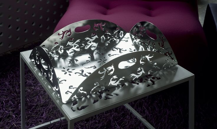 """Decorative """"brushed"""" stainless steel tray for interior or outside. Request info. about product at http://www.studio-habitat.si"""