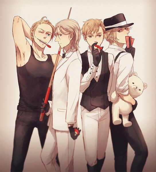 Alfred, Francis, Arthur, and Matthew - Art by Underwonder - FACESSS - Mattie in that fedora, though....