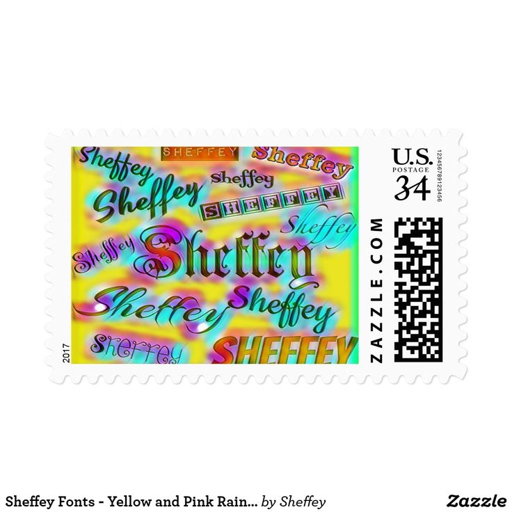 Sheffey Fonts - Yellow and Pink Rainbow 9642 Postage also has matching greeting card