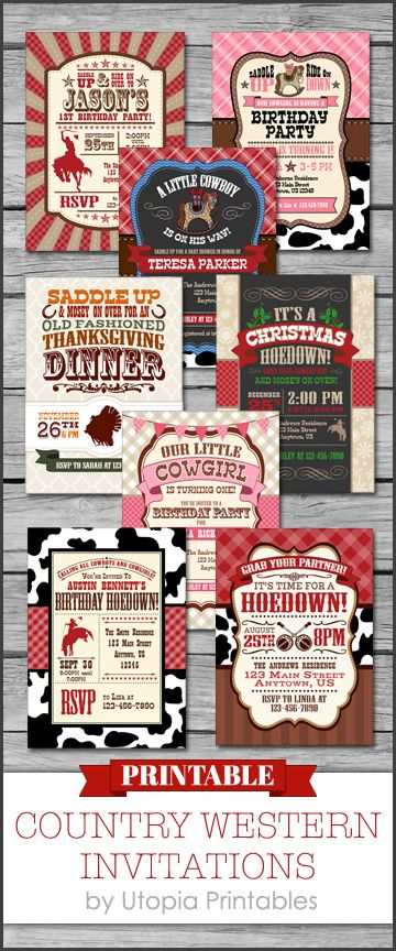 Unique digital printable DIY party invitations with a country western theme. Custom cowboy and cowgirl rodeo themed birthday party invites for boys and girls, cute rural rustic baby shower announcement ideas, fun farm hoedown invitations that you can have customized, and more. Have these invitations personalized and then download and print at home. https://www.etsy.com/shop/UtopiaPrintables/search?search_query=country+western