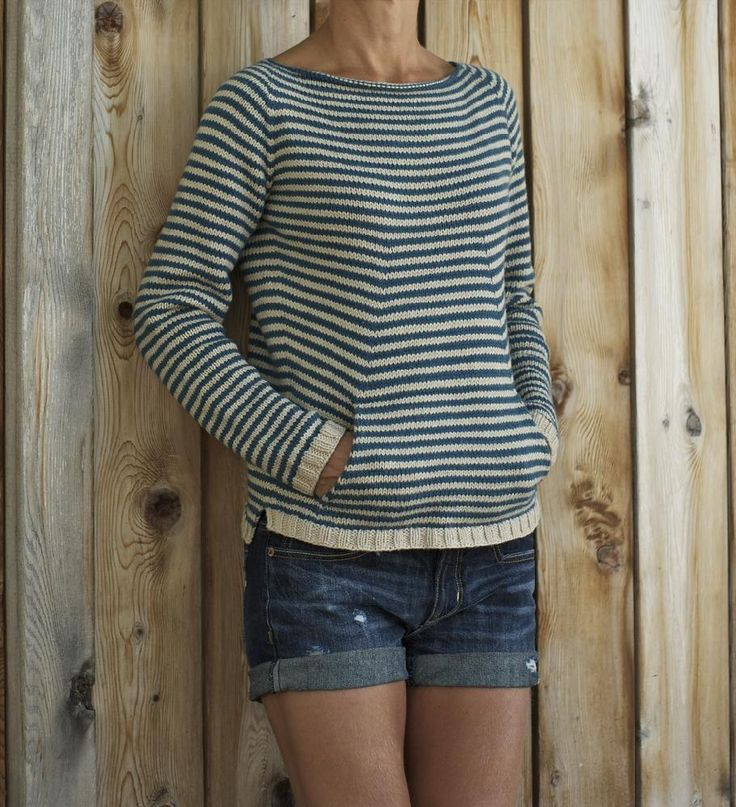 6 knitted projects to take on vacation: shellseeker beach sweater by Heidi Kirrmaier. Download at LoveKnitting!