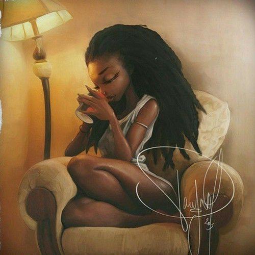 Your Dark Skin - Ta peau nue noire | sositomaske: #art #locs #blackwoman... | via Tumblr
