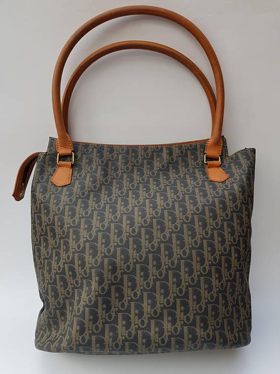 ce2c65515781 DIOR Christian Dior Vintage Grey and Tan   Brown Monogrammed ...