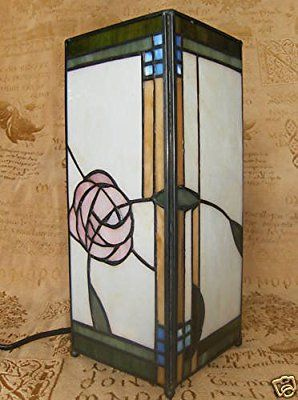 ART DECO MACKINTOSH ROSE TIFFANY LAMP & REAL SOILD STAINED GLASS: Amazon.co.uk: Lighting