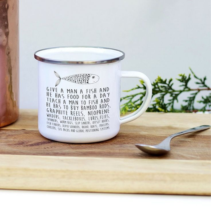 Shop now for personalised fishing enamel mug. Enamels mugs are great for fishing, camping and gadening. Perfect for any fishing enthusiast. 15% off your first order.