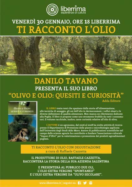 """http://www.mynd-magazine.it/appuntamenti/details/307-ti-racconto-lolio.html Il volume """"Olivo e Olio: Quesiti e Curiosità"""" è strutturato in 100 quesiti suddivisi in 10 capitoli inerenti altrettanti temi sul mondo dell'olio e dell'olivo con la Puglia sullo sfondo. Gli argomenti trattati spaziano dalla storia all'alimentazione, passando per le tecniche di assaggio (...)"""
