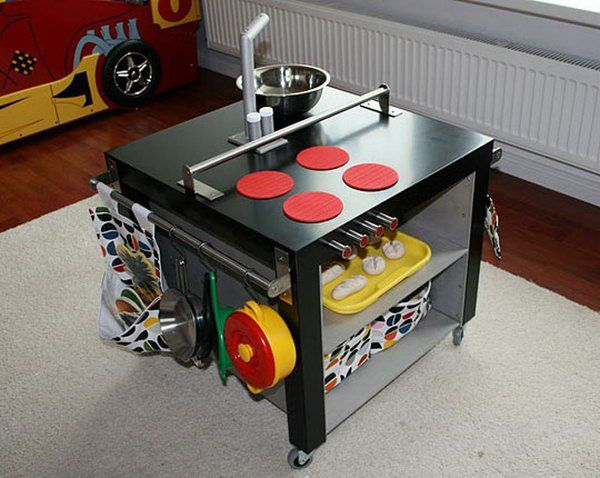 DIY Play Kitchen for Kids. Hack the IKEA LACK table into this practical and unique play kitchen for your little ones. Get the instructions