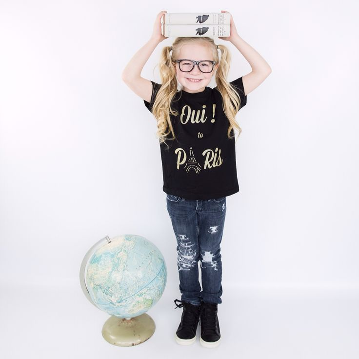 Oui! to Paris Black and Gold tee