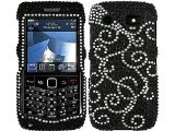 Vine Black Bling Rhinestone Faceplate Diamond Crystal Hard Skin Case Cover for Blackberry Pearl 2 3g 9100