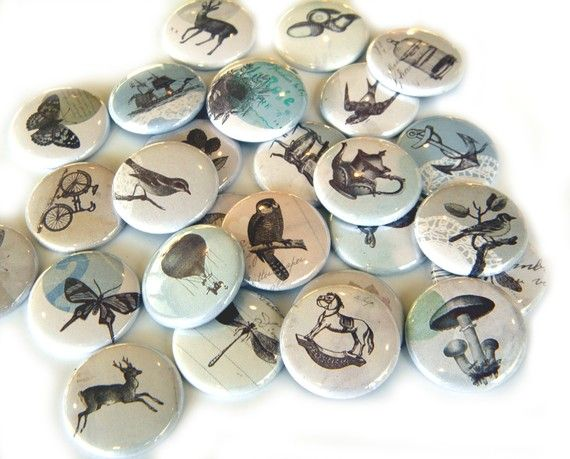 25 Vintage Images FLAT BACK Buttons by buttonsandbadges on Etsy, $7.50