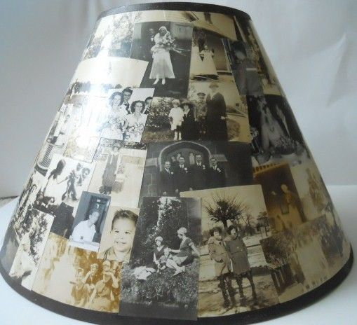 Decoupaged Lamp Shade!  Beautiful idea....  fleabird on etsy