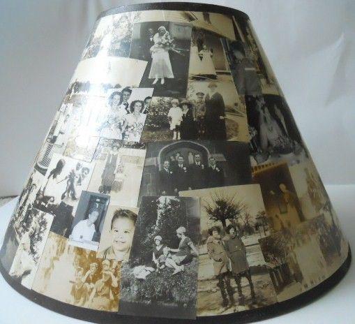 Decoupaged Lamp Shade!  Beautiful idea....  fleabird on etsy