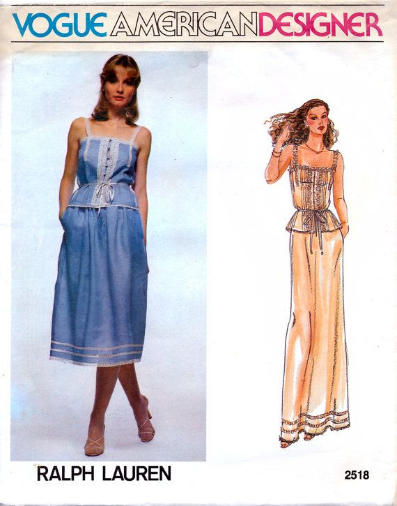 Vogue American Designer 2518 by Ralph Lauren Vintage 80s Misses' Camisole and Skirt Sewing Pattern - Uncut - Size 12 - Bust 34