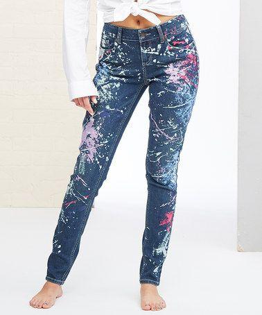 Look at this #zulilyfind! Pollock Paint Splatter Skinny Jeans - Women #zulilyfinds