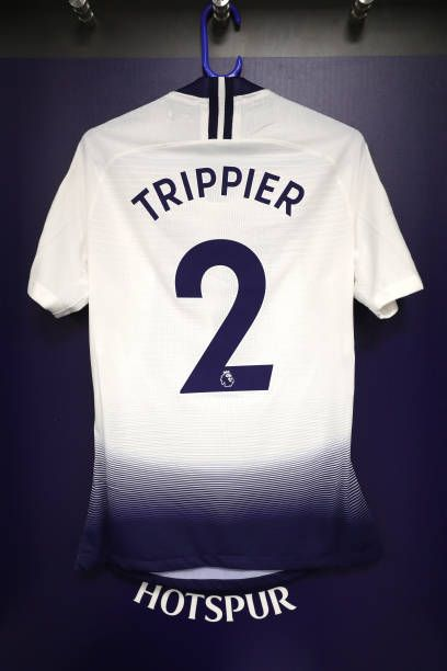 eea915e57f1 The shirt of Kieran Trippier of Tottenham Hotspur in the dressing room prior  to the Premier League match between Tottenham Hotspur and Southampton FC.