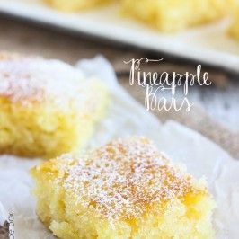 These Pineapple Bars are such a happy dessert! They are full of pineapple bits and the perfect treat for Spring and Summer.