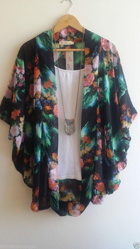 Nina Proudman Style Size L Kimono BNWT Floral Flowly Summer Boho Sheer Festival