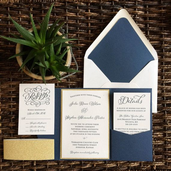 One of our most popular invitations is back and better than before! This Gold Glitter and White invitation is mounted in a 5x7 Cobalt pocket. We love this gold glitter paper; its super sparkly, heavy duty, and best of all it doesnt flake. Shown is the matching Gold Glitter Belly Band. This The pocket is great to include extra inserts or to wow your guests! All paper colors are customizable to coordinate with your wedding. We have over 130 paper colors and hundreds of fonts to choose from…