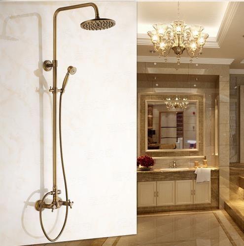 antique robinet de douche en laiton avec pomme de douche 8 pouces + douche à main SA002