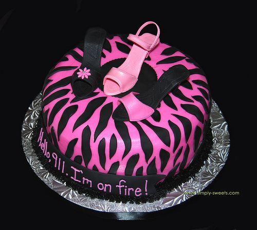 fondant high heel template | pink and black zebra with 3 sugar high heel shoe bachelorette cake