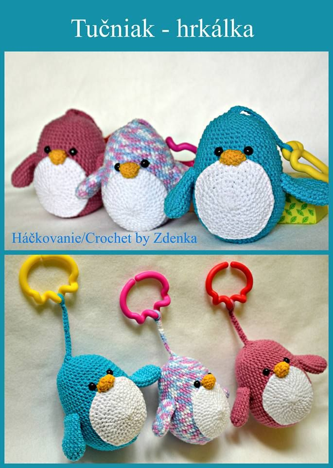 Háčkovaná hrkálka - tučniaky Crochet  Baby Rattle - Penguin  https://www.facebook.com/710199975743896/photos/a.710437995720094.1073741829.710199975743896/854250424672183/?type=3&theater