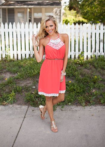 Online boutique. Best outfits. Lovable Lady Dress Coral - Modern Vintage Boutique