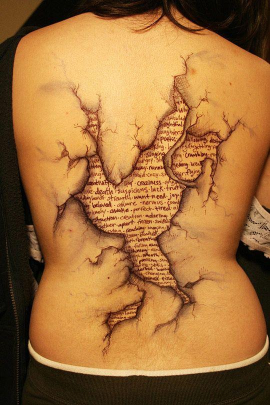 Awesome cracked/torn skin revealingTattoo Ideas, 3D Tattoo, Incr Tattoo, Colors Tattoo, Book Pages, Back Tattoo, A Tattoo, Words Tattoo, Bible Verse