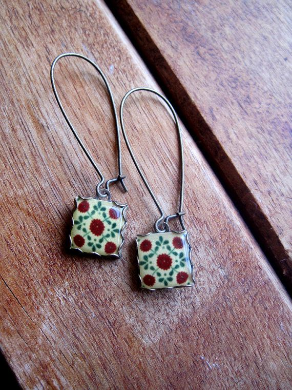 Shrunken Cat Heads Mexican Talavera tile drop earrings