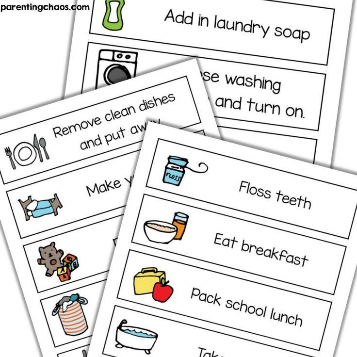 Visual Task Chore Cards Printable ⋆ Parenting Chaos
