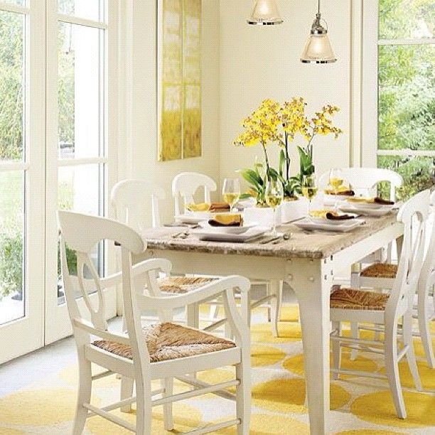 Pale Yellow Country Kitchen: Sunshine Dining Room. #white #buttercup Yellow #green